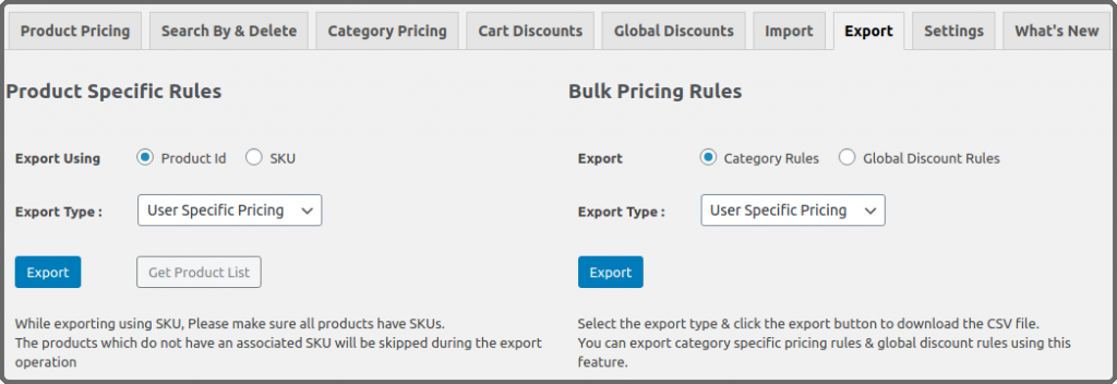 Additional columns in the rule export