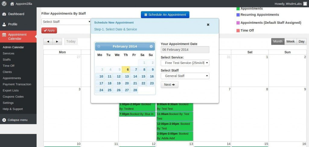 Appointment Booking Interface