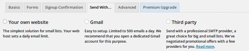 MailPoet Sending Options