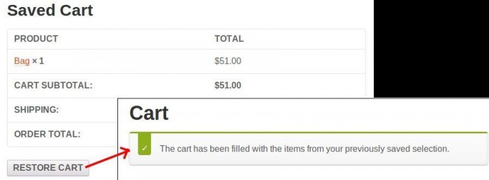 Saved Cart Options WooCommerce