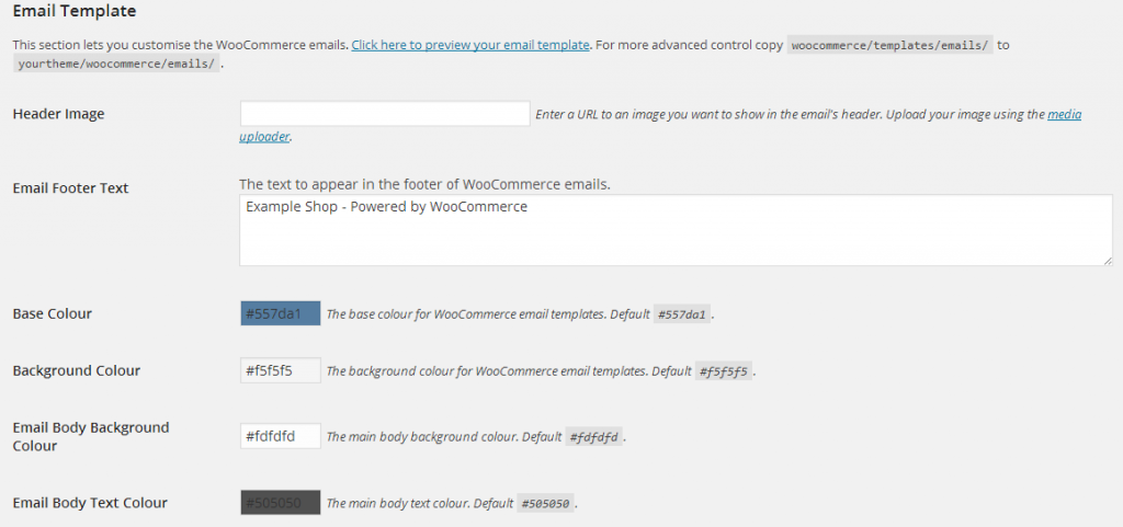 Email Template Settings WooCommerce