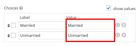 Checkbox-values