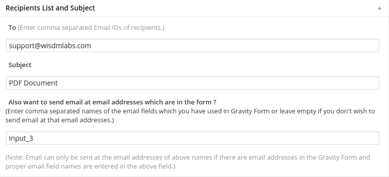 Gravity Forms PDF Auto-fill - Email Template