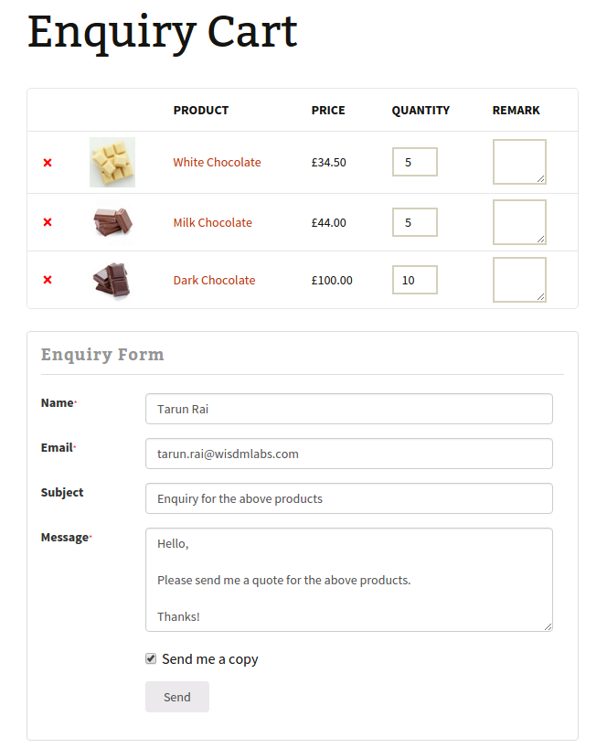pep multiple product enquiry cart screenshot-1