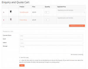 Enquiry and Quote Cart – Product Enquiry Pro