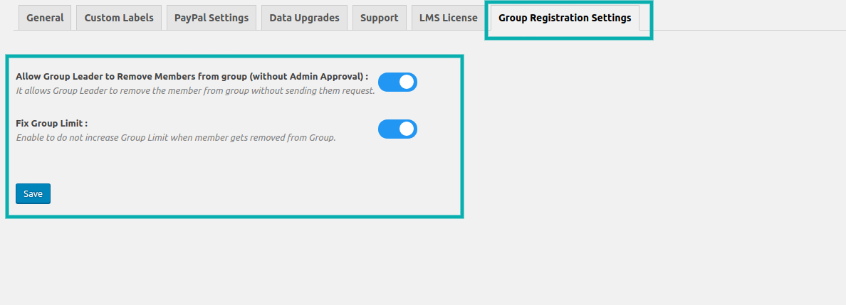 Group Registration Settings