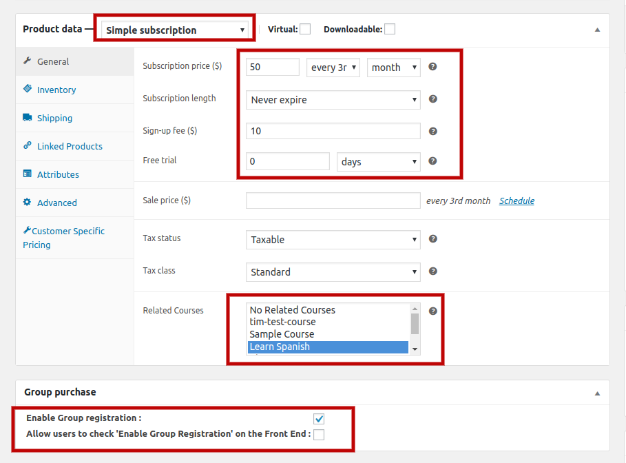 Backend Simple Subscription settings