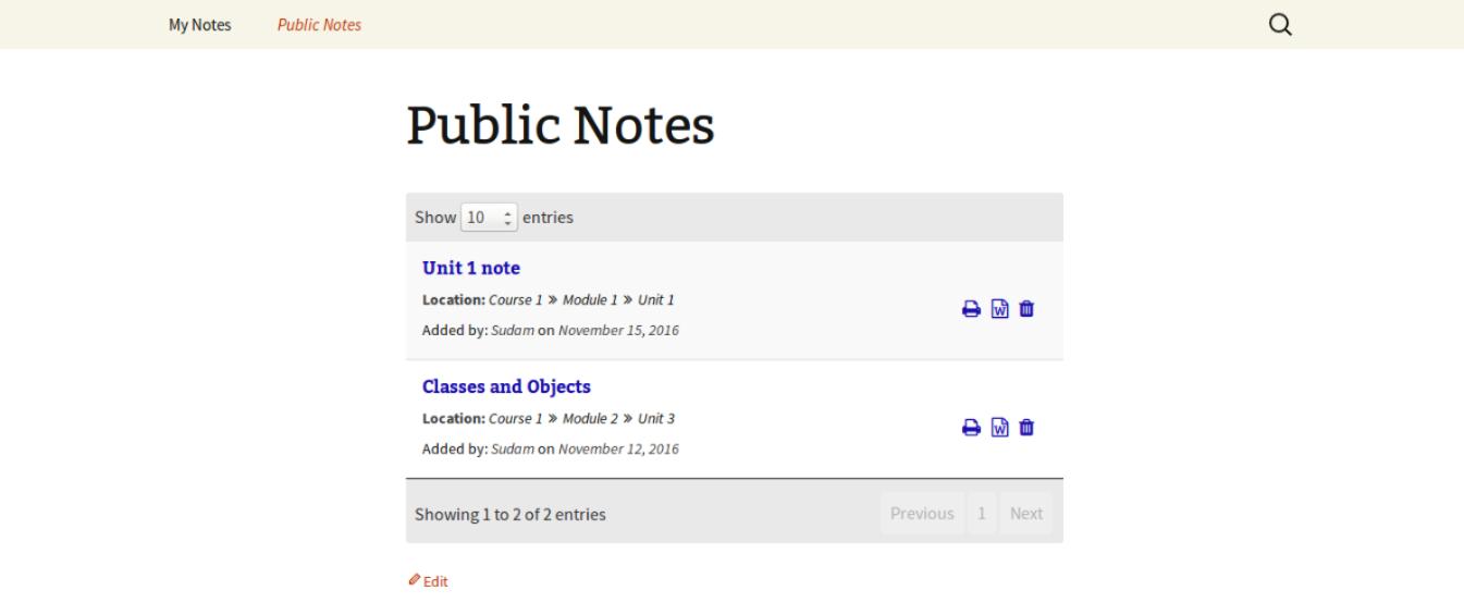 Public notes