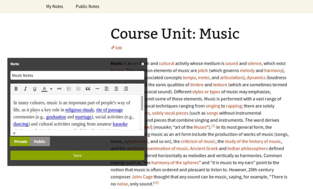 Course unit music