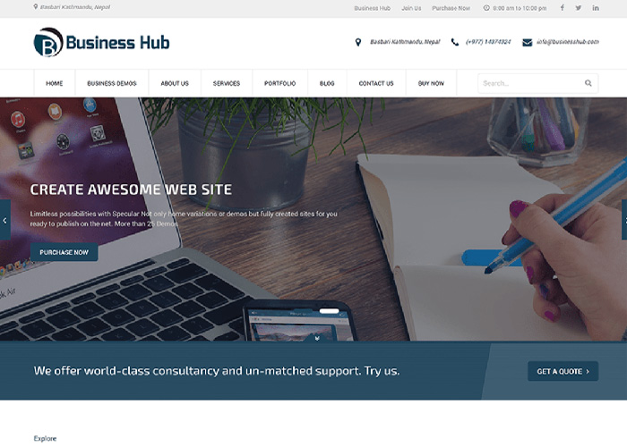 business hub-rigorous themes