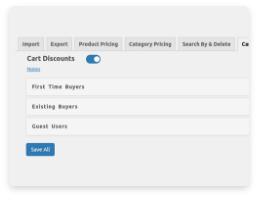 icon for enable cart discounts and set different rules for different types of buyers